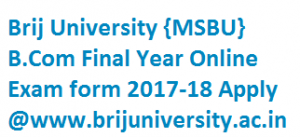 Brij University B.Com Final Year Online Exam form 2017-18