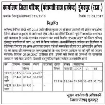Panchayati Raj LDC Cut off Marks 2013 Merit List 2017