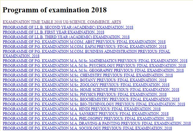Shekhawati University BA BSc BCom Time Table 2018