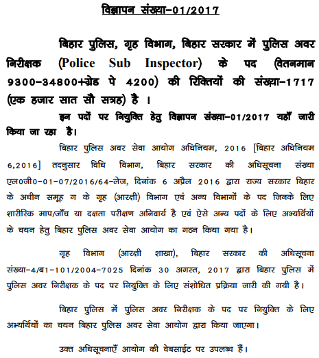 Bihar Police Sub Inspector Recruitment 2017 1717 Vacancy notification