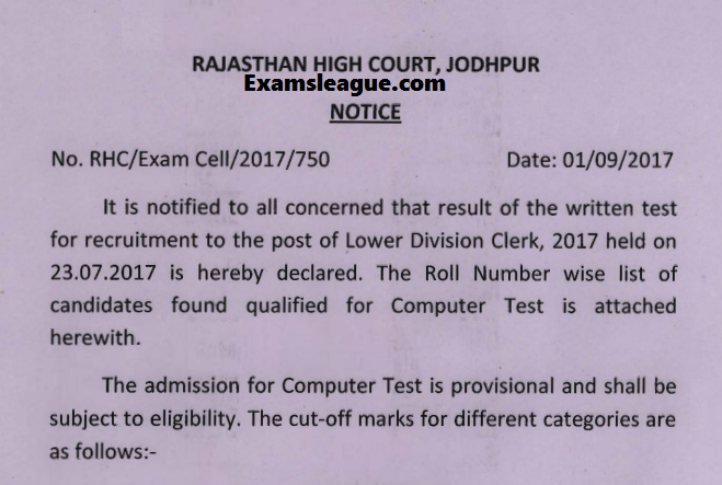 HCRAJ Clerk Recruitment Exam Result 2017