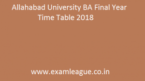 Allahabad University BA Final Year Time Table