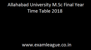 Allahabad University M.Sc Final Year Time Table