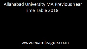 Allahabad University MA Previous Year Time Table