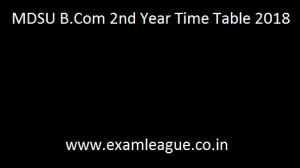 MDSU B.Com 2nd Year Time Table