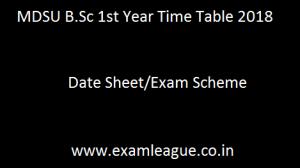 MDSU B.Sc 1st Year Time Table