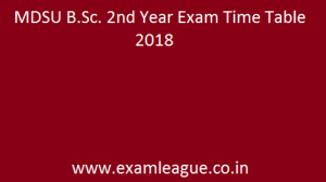 MDSU B.Sc. 2nd Year Exam Time Table