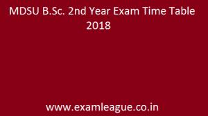 MDSU B.Sc. 2nd Year Exam Time Table