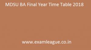 MDSU BA Final Year Time Table