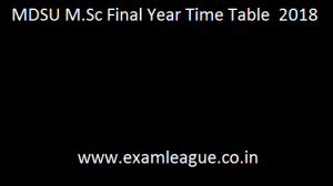 MDSU M.Sc Final Year Time Table
