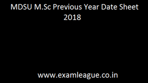MDSU M.Sc Previous Year Date Sheet