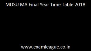 MDSU MA Final Year Time Table