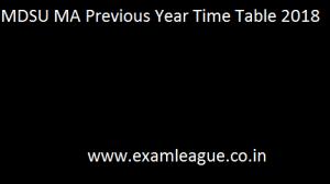 MDSU MA Previous Year Time Table