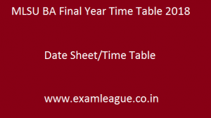 MLSU BA Final Year Time Table