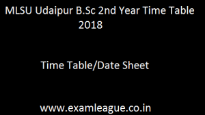 MLSU Udaipur B.Sc 2nd Year Time Table