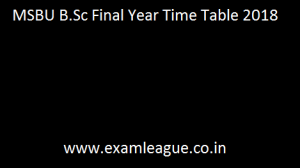 MSBU B.Sc Final Year Time Table