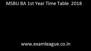 MSBU BA 1st Year Time Table