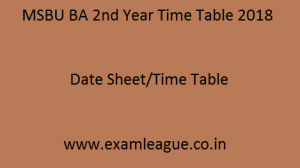 MSBU BA 2nd Year Time Table