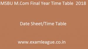 MSBU M.Com Final Year Time Table