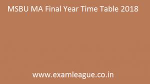 MSBU MA Final Year Time Table