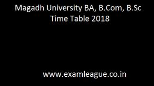 Magadh University BA, B.Com, B.Sc Time Table