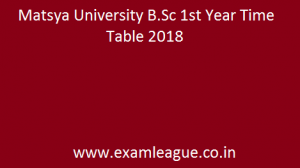Matsya University B.Sc 1st Year Time Table