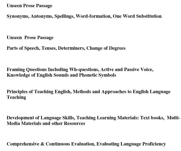 REET English Level 1 & 2 Syllabus 2017 Pdf Download