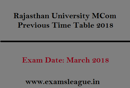 Rajasthan University MCom Previous Time Table 2018