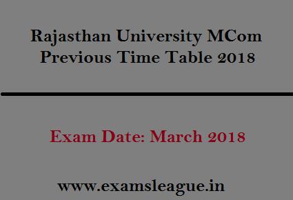 Rajasthan University MCom Previous Time Table 2018