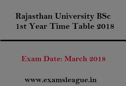 Rajasthan University BSc 1st Year Time Table 2018
