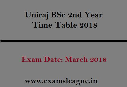 Uniraj BSc 2nd Year Time Table 2018