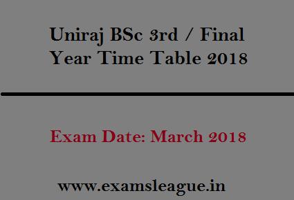 Uniraj BSc 3rd / Final Year Time Table 2018