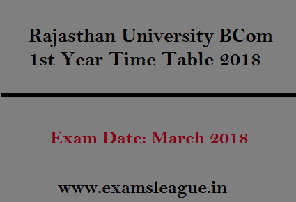 Rajasthan University BCom 1st Year Time Table 2018