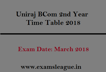 Uniraj BCom 2nd Year Time Table 2019