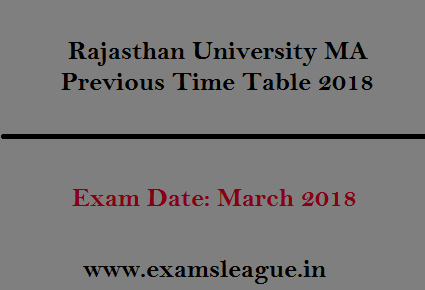 Rajasthan University MA Previous Time Table 2018
