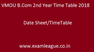 VMOU B.Com 2nd Year Time Table