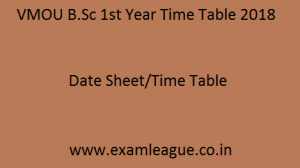 VMOU B.Sc 1st Year Time Table