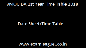 VMOU BA 1st Year Time Table