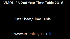 VMOU BA 2nd Year Time Table
