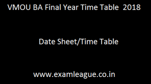 VMOU BA Final Year Time Table