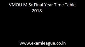 VMOU M.Sc Final Year Time Table