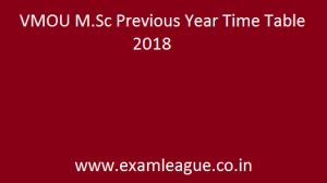 VMOU M.Sc Previous Year Time Table