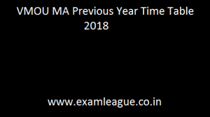 VMOU MA Previous Year Time Table