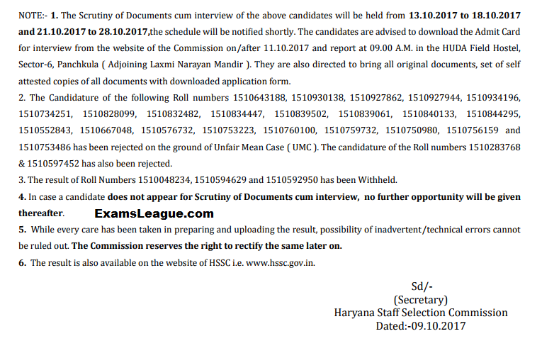 HSSC LDC/UDC Clerk Result 2017 PDF