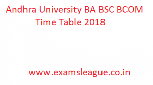 Andhra University BA BSC BCOM Time Table