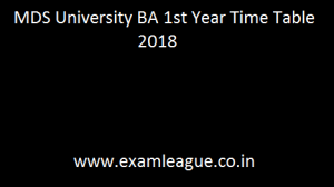 MDS University BA 1st Year Time Table