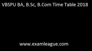 VBSPU BA, B.Sc, B.Com Time Table