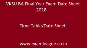 VKSU BA Final Year Exam Date Sheet