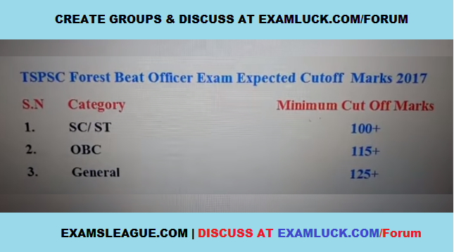 TSPSC FBO Cut off Marks 2017 GEN-OBC-SC-ST Forest Beat Officer Expected Cutoff