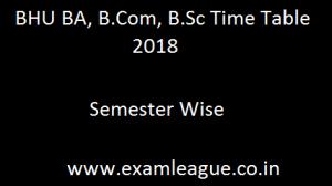 BHU BA, B.Com, B.Sc Time Table